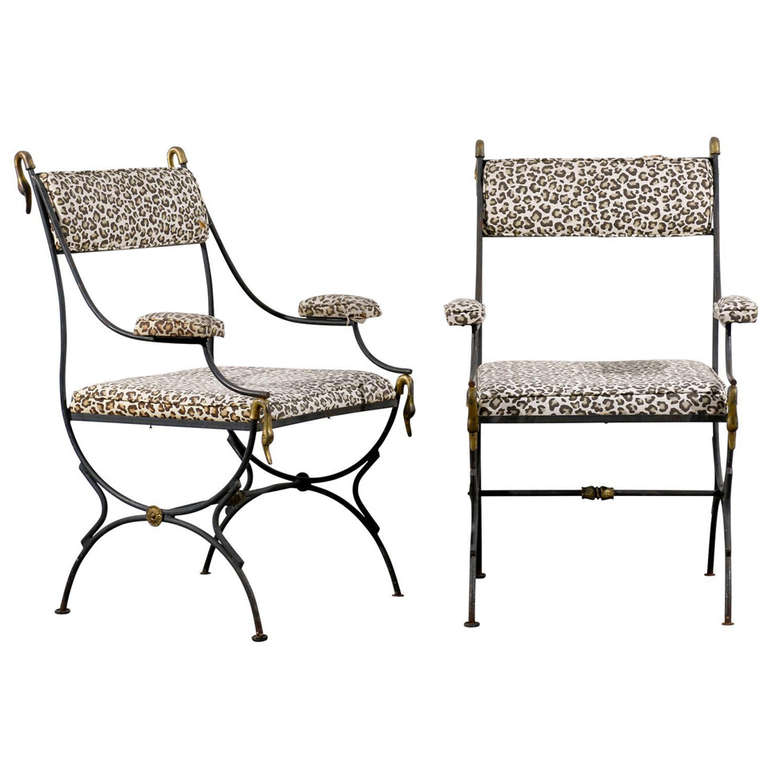 Pair of Arm Chairs in Iron and Brass