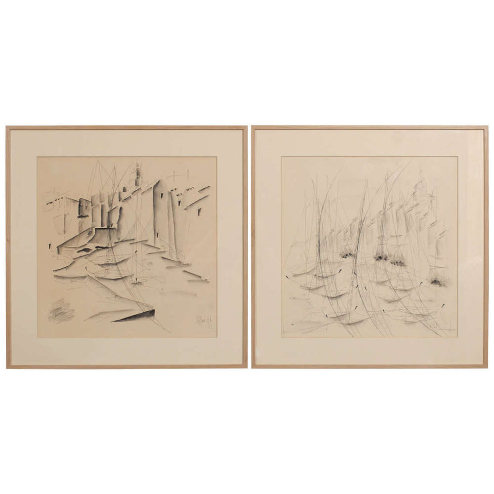 Pair of Pen and Ink Seascape Drawings, Signed