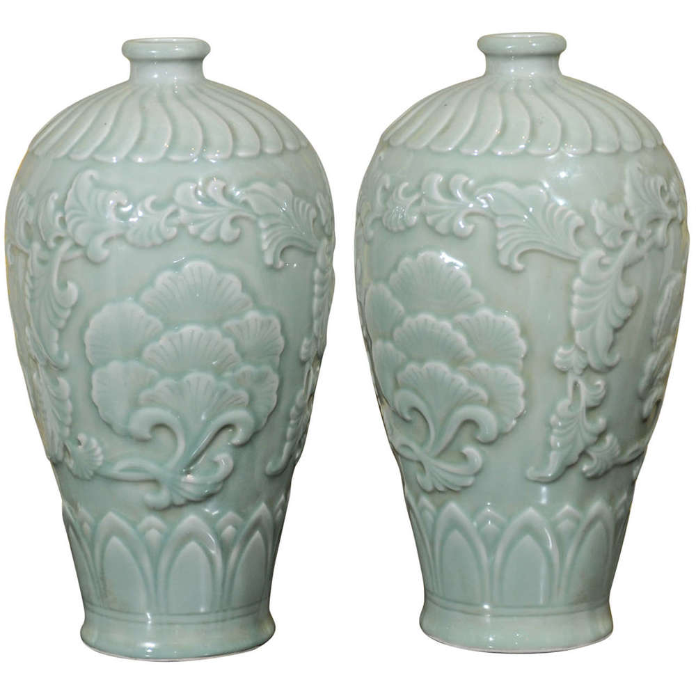 Pair of Chinese Vases, Celedon