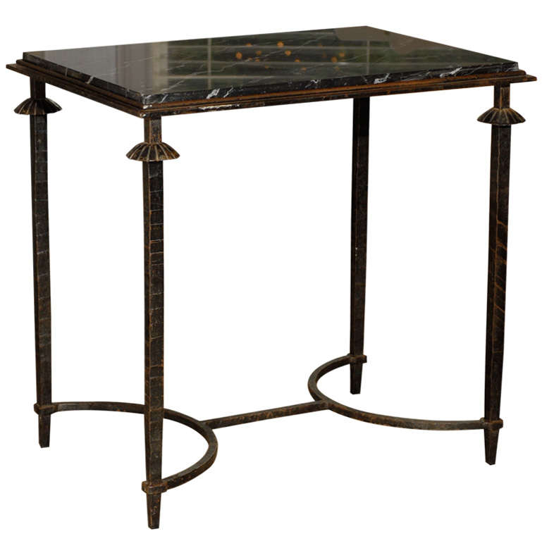 Iron Table with Original Marble Top