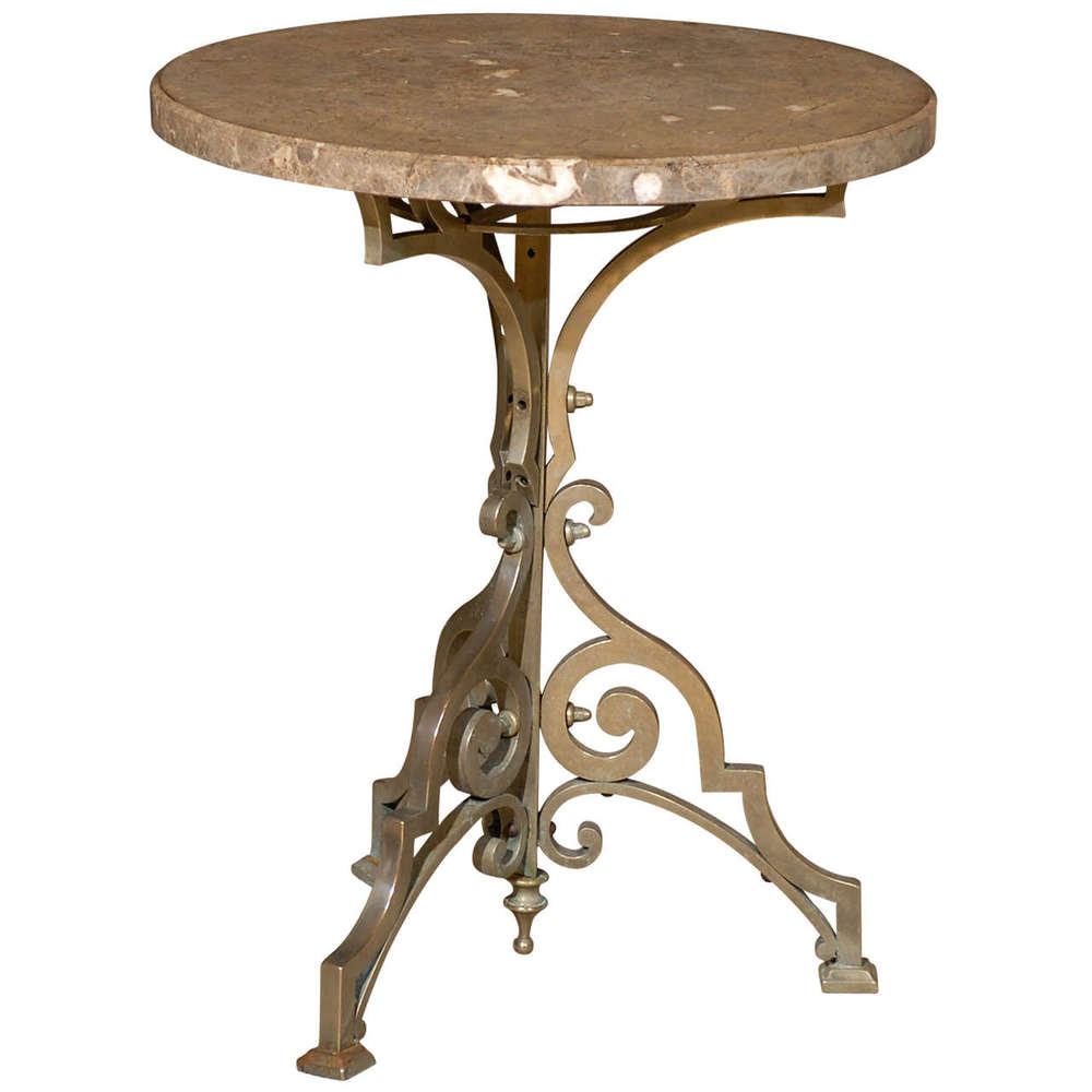 Portuguese Gueridon with Marble Top in Silver Bronze