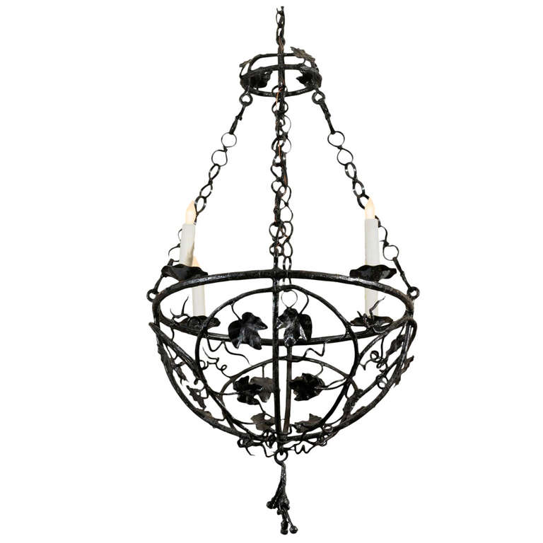 Iron Chandelier with Four Lights