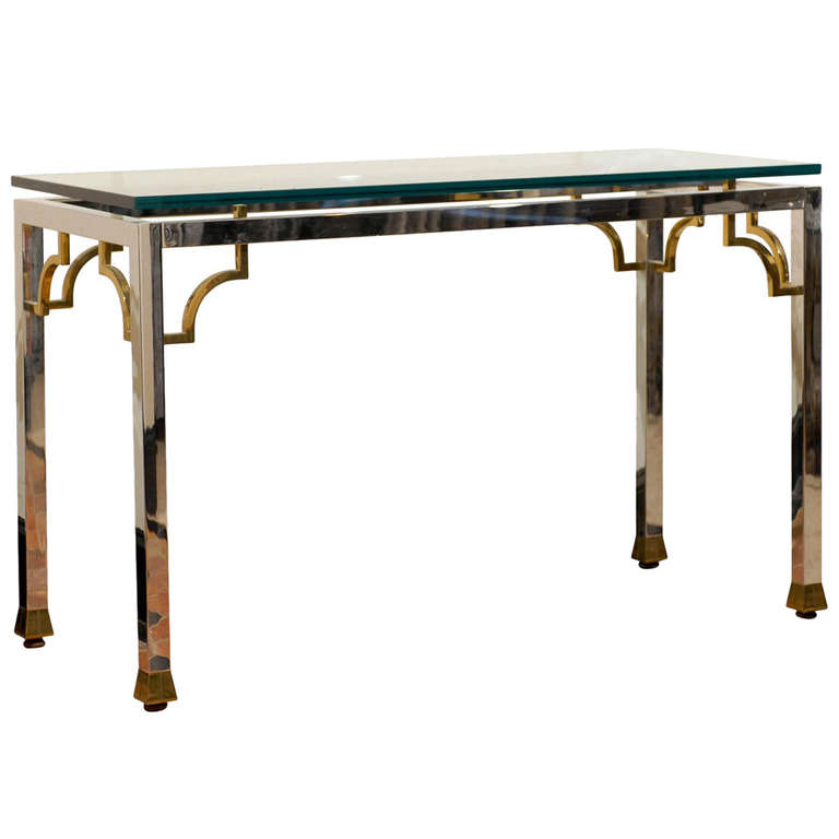 Chrome Brass and Glass Console