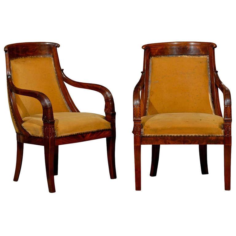Pair of Mahogany Empire Chairs