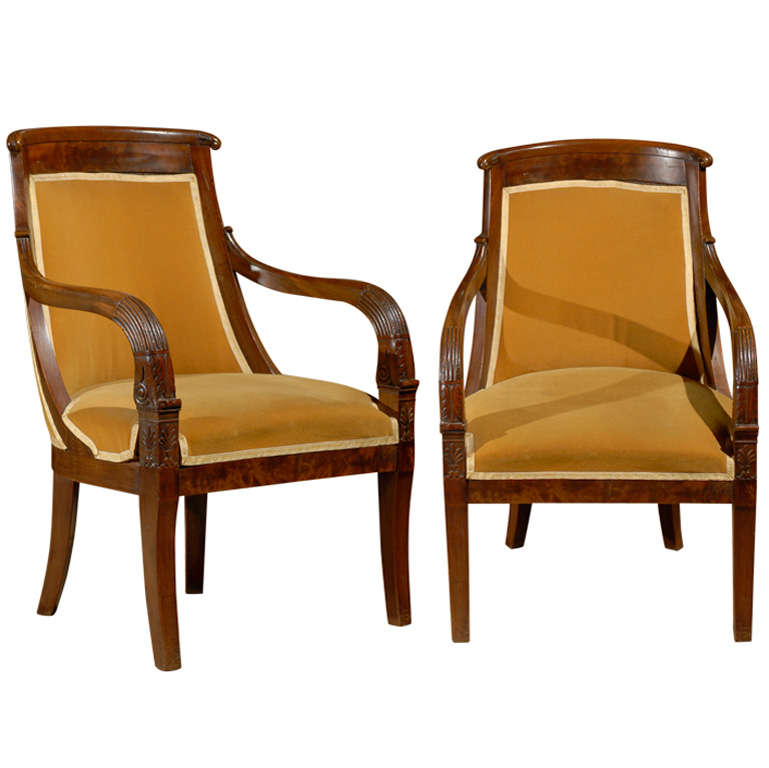 Pair of Mahogany Style Empire Chairs