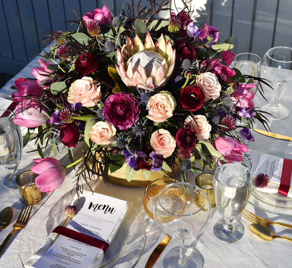 boho glam wedding arrangement