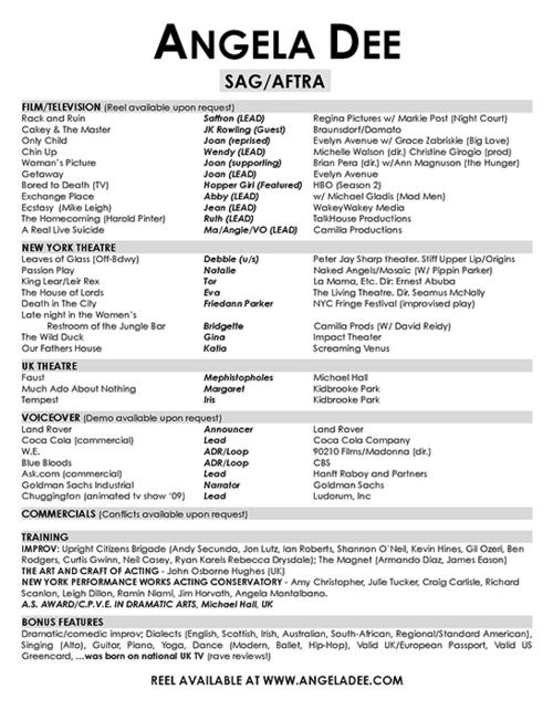 Pix/Resume — Angela Dee