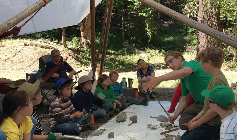 Stone Tool Scientist Ben Walker  teaching arrowsmithing and flintknapping.