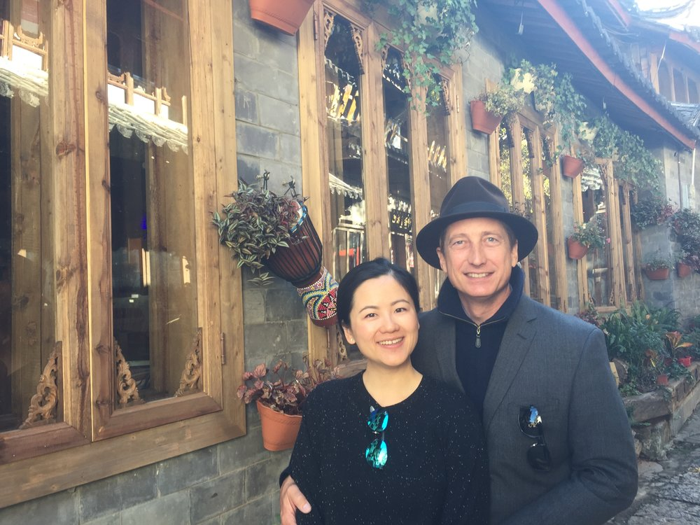 Ben and Claire Walker in one of tribal villages of the Tibetan Plateau.