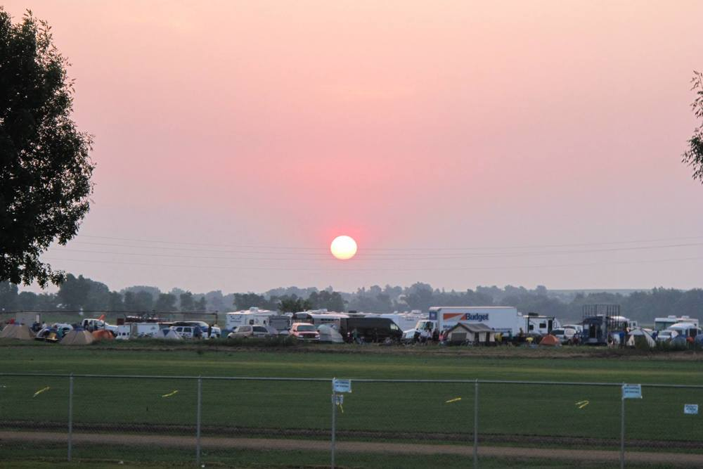 Dawn of day one - RAGBRAI campers shake out of bed.