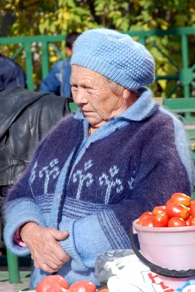 Tomato vending Russian babushka.