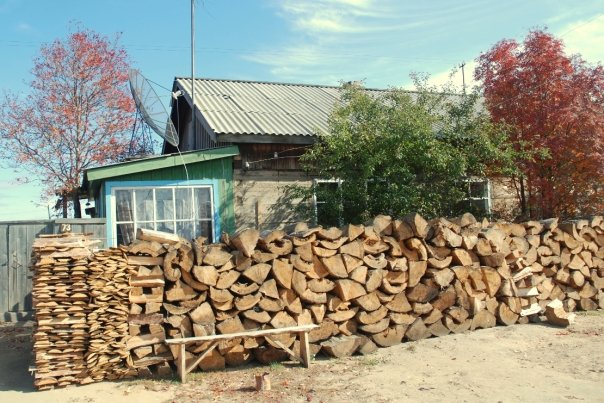 The beginning of the firewood supply for upcoming winter warmth.