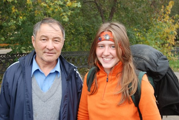 Michail Mangaskin and Anya Belova, volunteers with the Great Baikal Trail Association.
