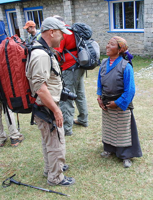 Wally Berg visits with yak herder Nim Phuti Sherpa