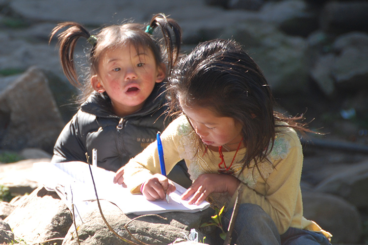 Sherpa girls with homework