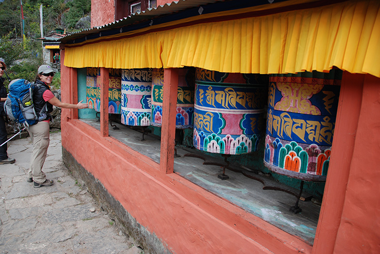 Prayer wheels along the trail