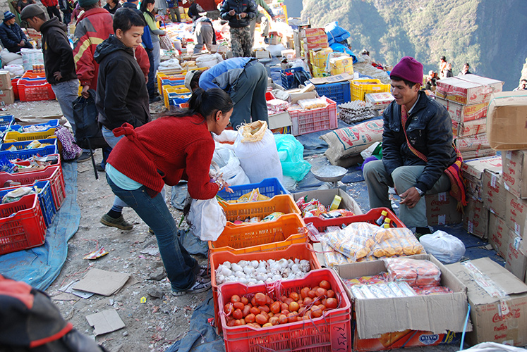 Open air market in Namche Bazaar