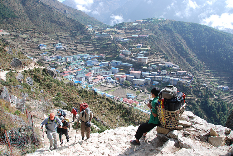 Namche Bazaar, 11,000 feet elevation. Sherpa center of Khumbu region.