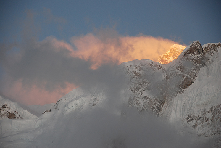 Everest at sunset from Gorak Shep.