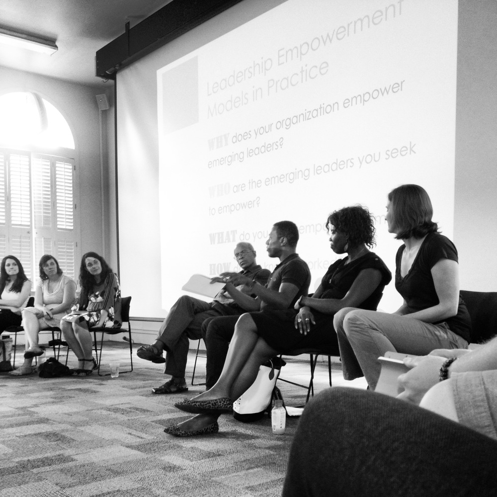 Maurice Cox, Marc Norman, Liz Ogbu, and Emilie Talor sit in on a panel discussion at a Design Futures workshop.