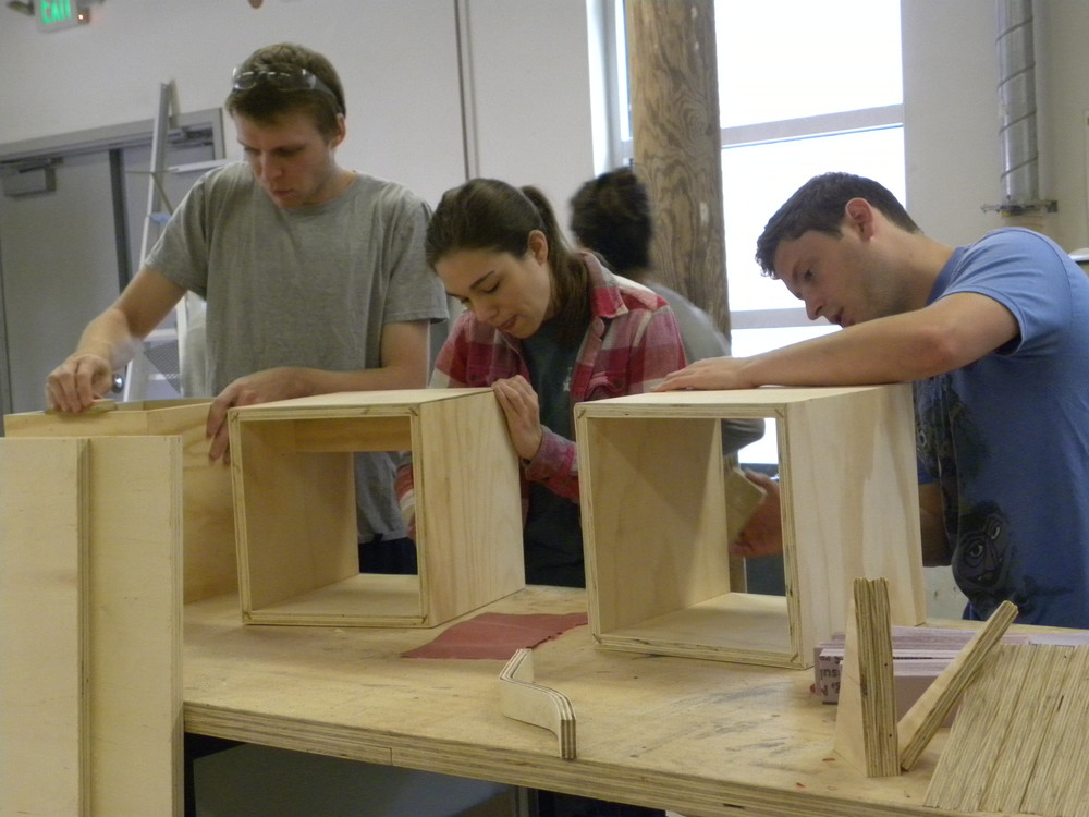 Tulane School of Architecture students working on stools for the spring 2016 design/build studio, the renovation of Community Book Center.