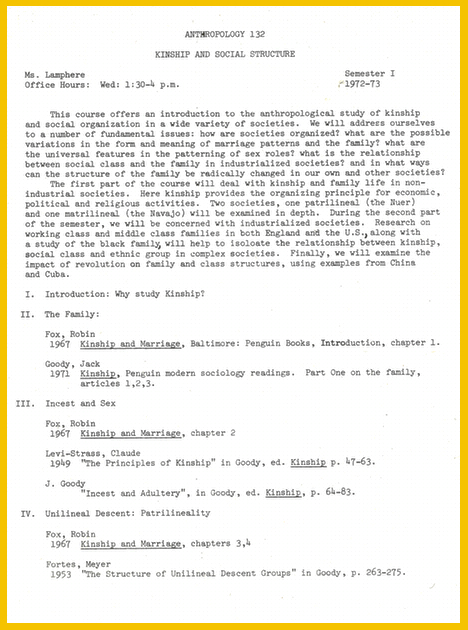 "Click document to read full text Syllabus for ""Kinship and Social Structure,"" 1972-73 Louise Lamphere Papers, Feminist Theory Archive, Brown University"