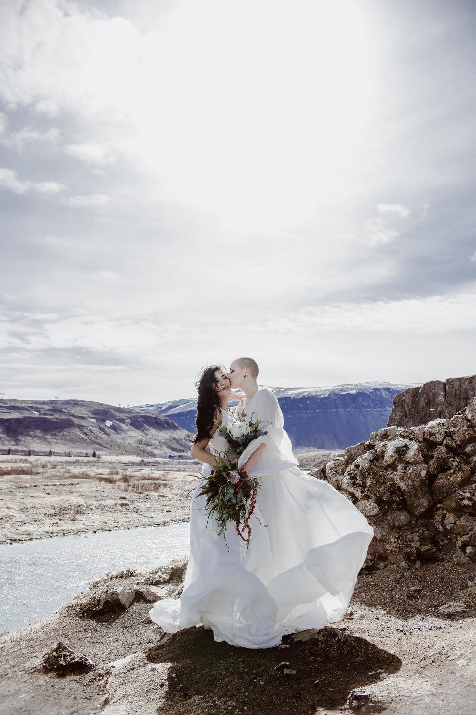 iceland elopement photographer , gay wedding in iceland , two brides iceland elopement