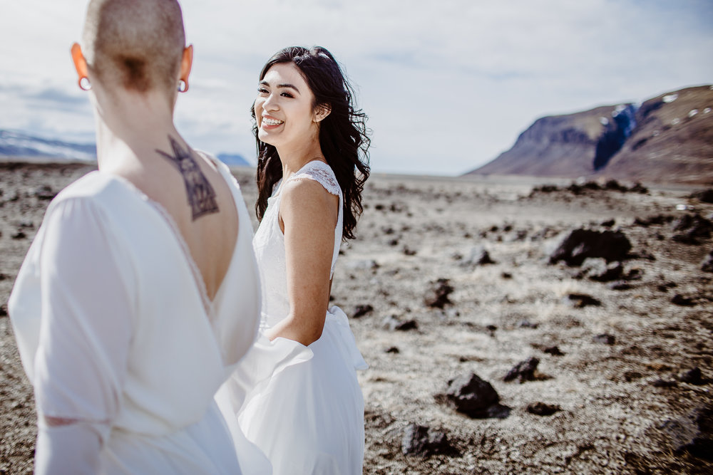 iceland elopement photographer , gay wedding in iceland , two brides iceland elopement