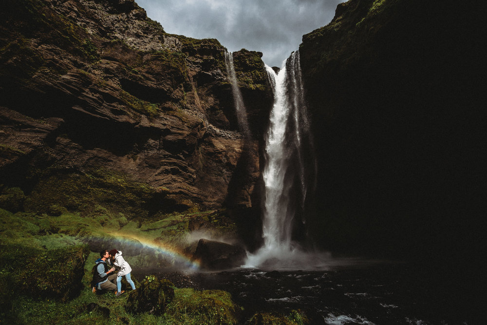 iceland elopement photographer- Iceland wedding pictures | waterfall elopement pictures