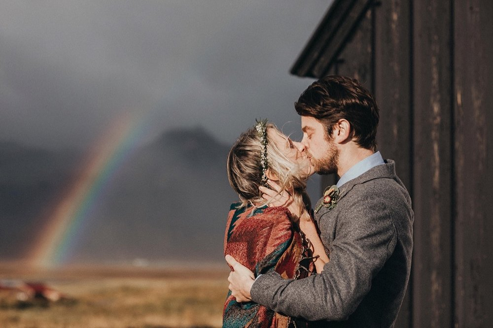 iceland-wedding-first-kiss-rainbow