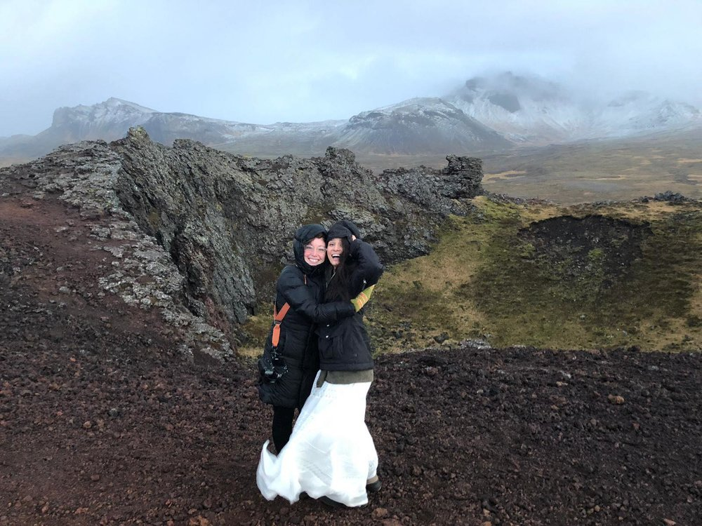 Just hanging out in a volcano crater with a past bride. NBD.