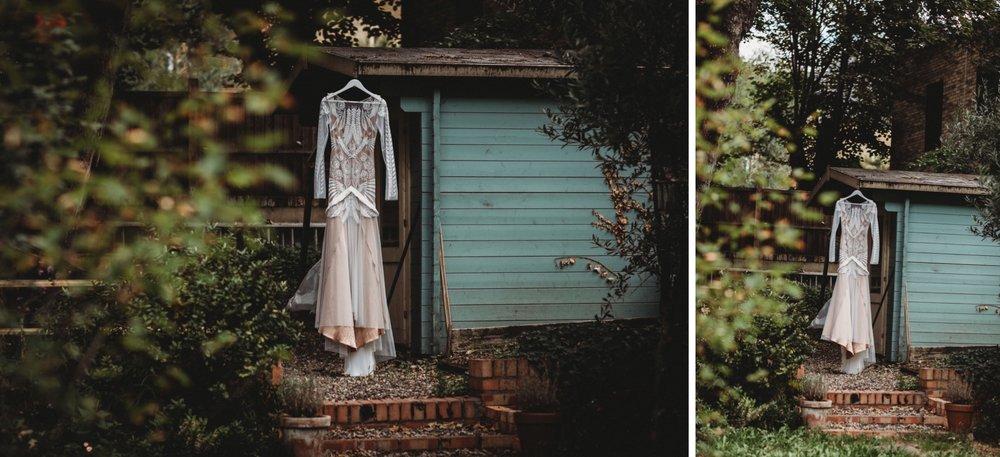 hackney London wedding Rue de Siene dress details by zakas photography