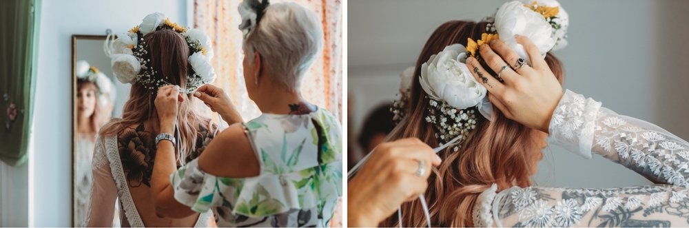 hackney London wedding floral crown by zakas photography