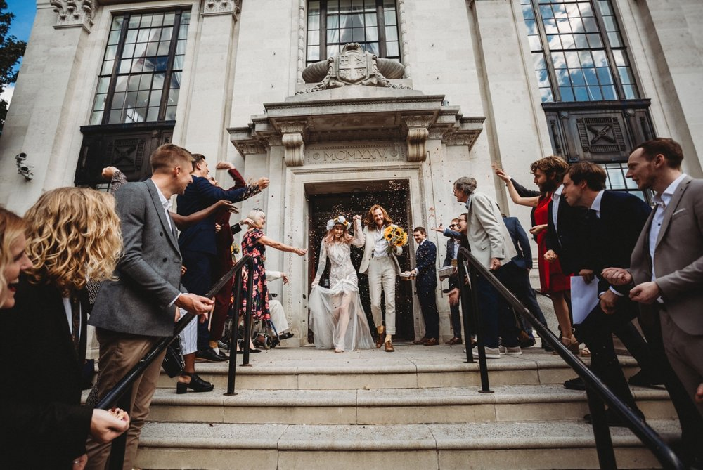 hackney London wedding ceremony exit by zakas photography