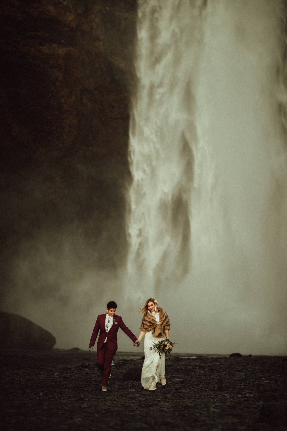 Leigh & Molly - A completely private elopement on a black sand beach during sunset.