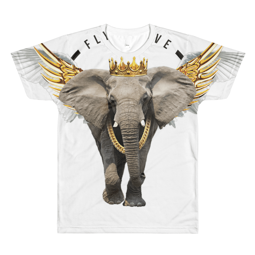 Fly Above, white elephant print shirt