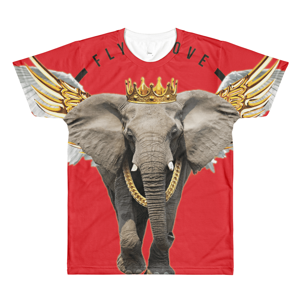 Fly Above, red elephant print shirt