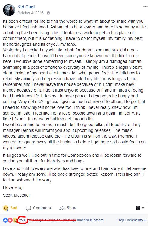 Cudi Facebook post