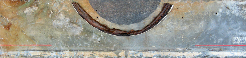 "Low Moon    9"" x 38""  Graphite, acrylic, varnish, found object, on found metal  Price upon request"