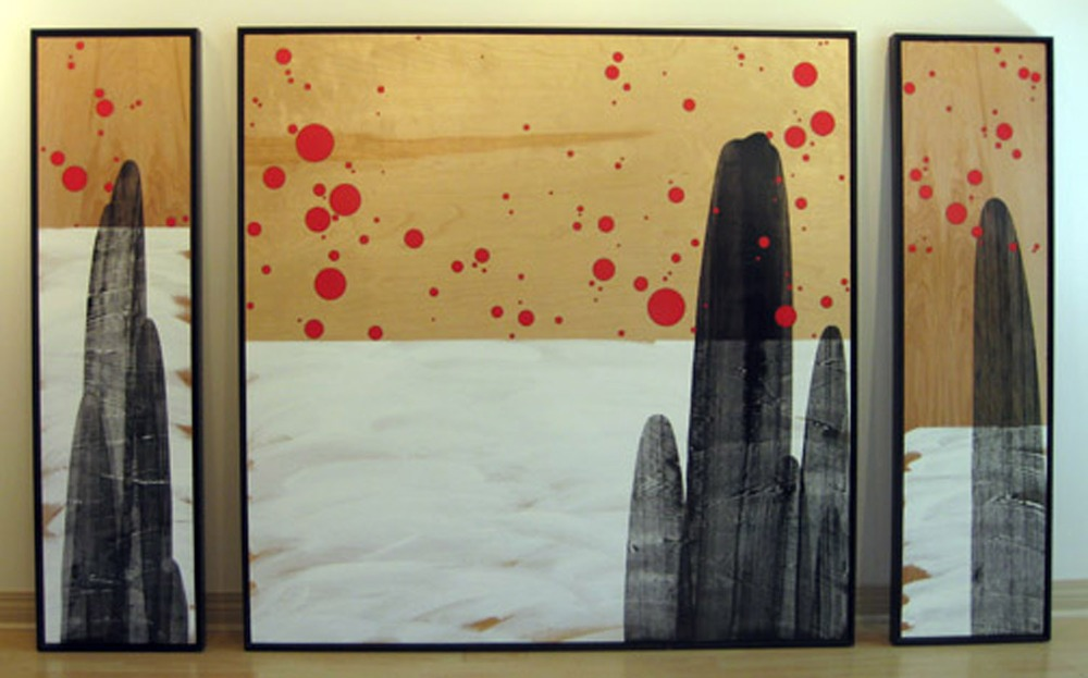 "Monolith (triptych)    49.25"" x 13"", 49.25"" x 49"", 49.25"" x 13""         0   0   0          Acrylic, graphite, varnish on wood   Price upon request"
