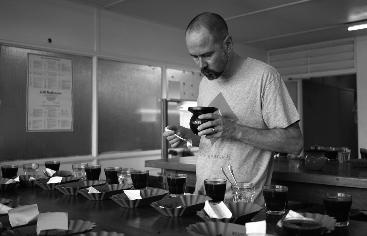 Morten cupping at RTC in Kigali, Rwanda.