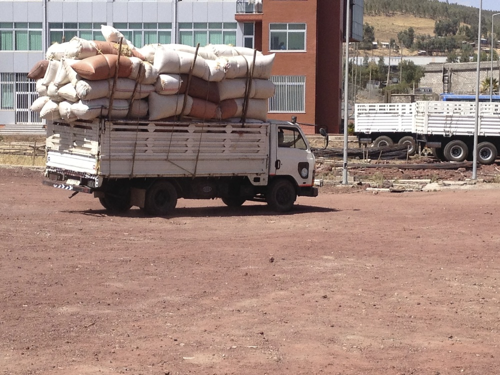 Parchment delivery from the cooperatives to the Oromia dry mill and warehouse in Addis