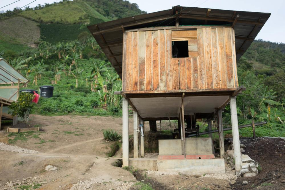 The beneficio at Astrid Medina's farm Buena Vista, in Gaitania, Tolima.