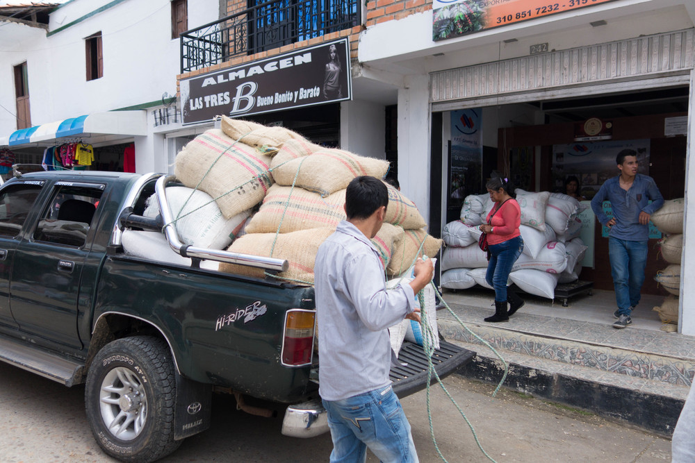 Parchment delivery at a local bodega in San Augustin, Huila.