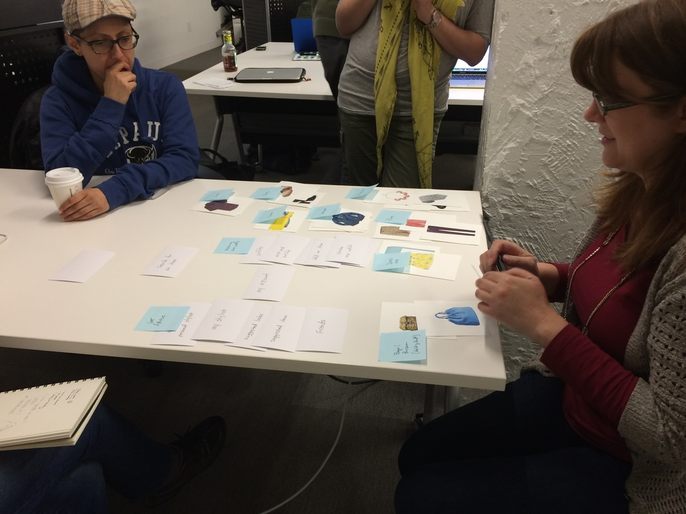 My UX instructor, Carolyn Chandler, co-author of  A Project Guide to UX Design  and  Adventures in Experience Design , participated in our card sort.