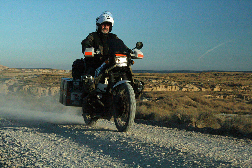 "Sam Manicom Riding ""Libby"" his R80GS Adventure Motorcycle"