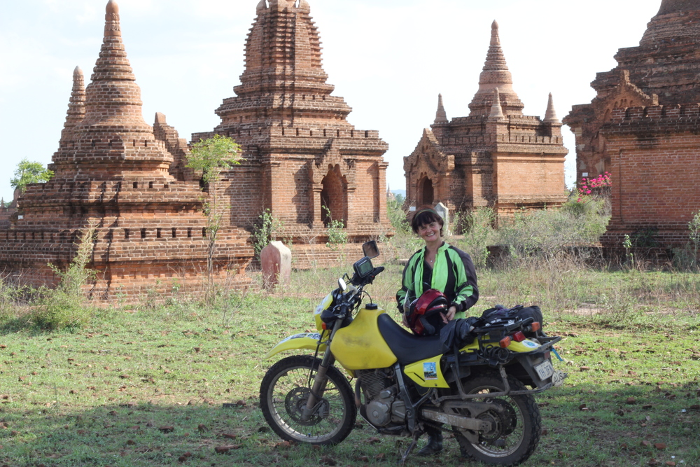 Liz in Myanmar, at Bagan amongst the Pagodaa