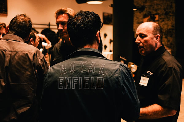 Royal Enfield CEO Siddartha Lal speaks with guests at the grand opening of the Royal Enfield North America headquarters.jpg