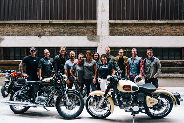 Royal Enfield North America brand ambassadors pose at the opening of the company's headquarters. .jpg