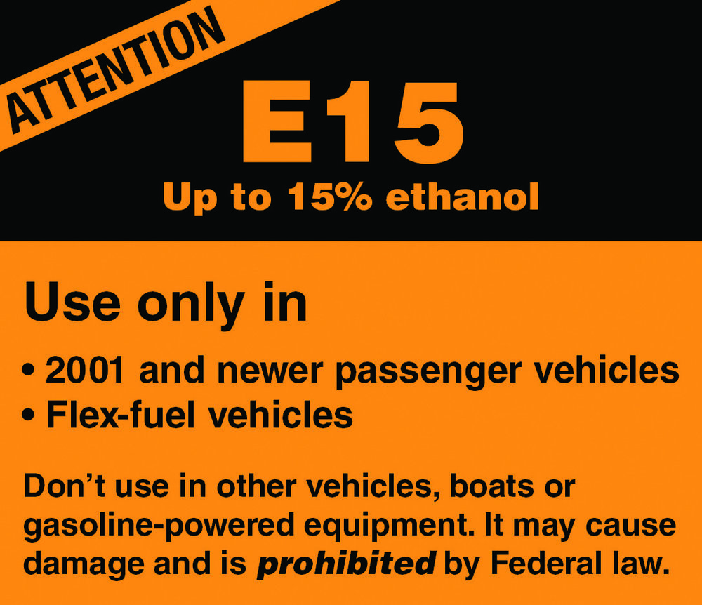 Image: Michael Sayre; American Motorcyclist Association - The only approved label for E15 in the United States.